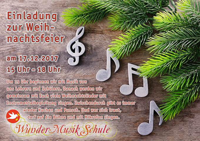 weihnachtsfeier am ab 15 uhr wundermusikschule. Black Bedroom Furniture Sets. Home Design Ideas